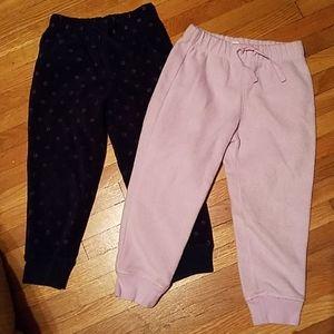 Toddler Girls set of 2 Fleece Sweat Pants 4T